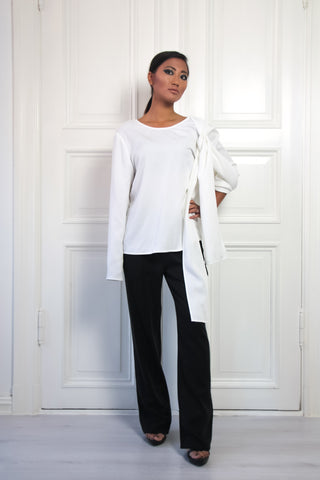 Shop Emerging Contemporary Urban Conscious Womenswear Brand Too Damn Expensive White Asymmetric Sleeve Top at Erebus