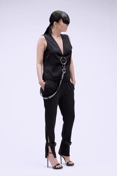 Shop Emerging Contemporary Conscious Womenswear Brand Too Damn Expensive Black Pants with Detachable Belt at Erebus