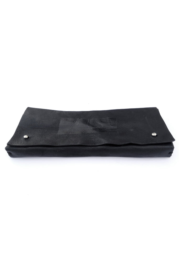 Shop emerging slow fashion accessory brand For Those Who Pray Black Leather Trojan Clutch Bag - Erebus