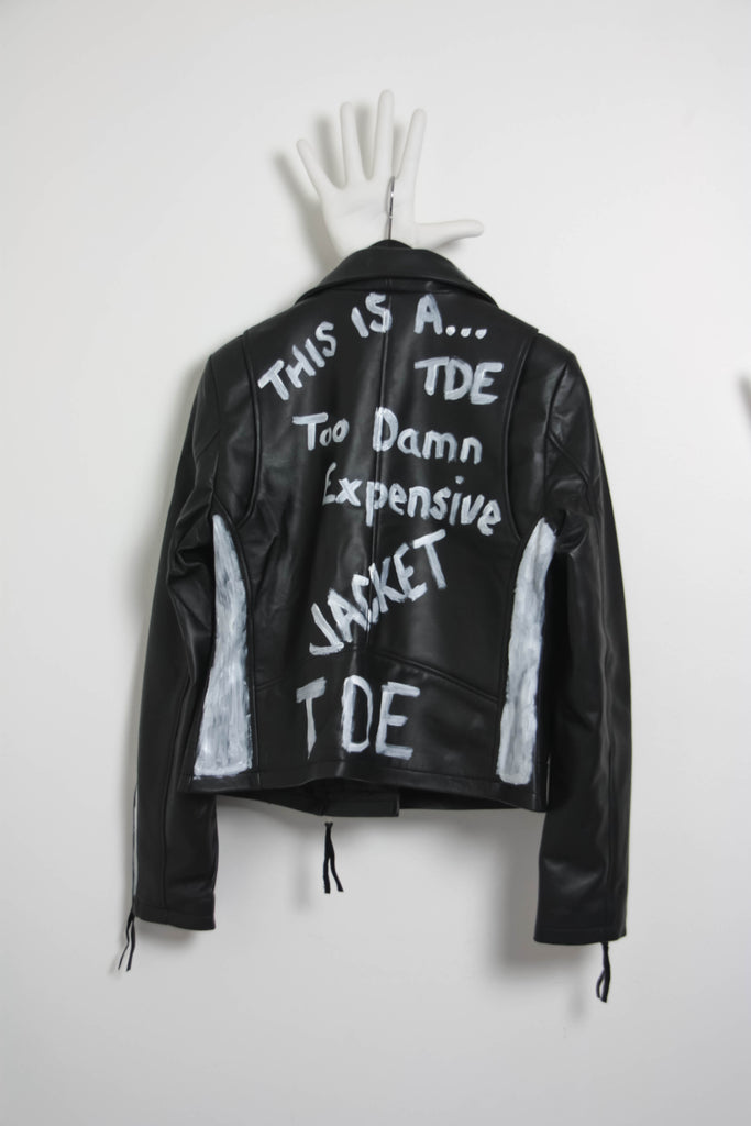 Shop Emerging Contemporary Conscious Womenswear Brand Too Damn Expensive Black Hand-painted Sheep Leather Moto Jacket at Erebus
