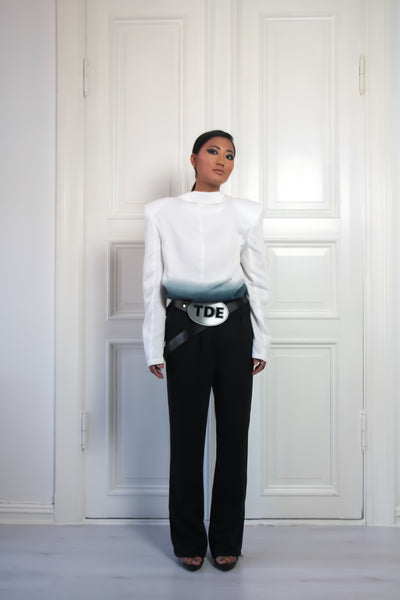 Shop Emerging Contemporary Conscious Womenswear Brand Too Damn Expensive Black Oversized Buckle Belt at Erebus