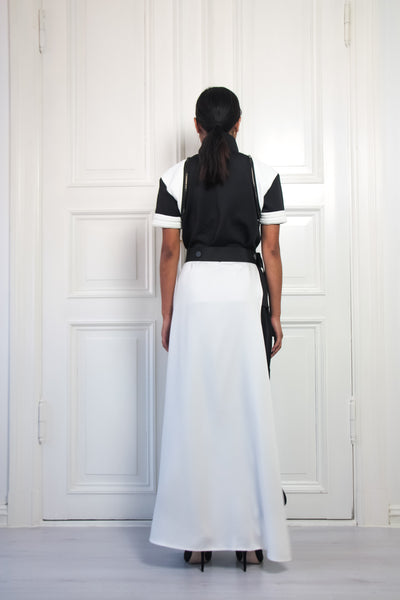 Shop Emerging Contemporary Urban Conscious Womenswear Brand Too Damn Expensive White Half Skirt at Erebus