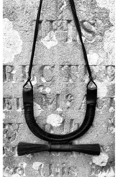 Shop emerging slow fashion accessory brand For Those Who Pray Black Leather Brush Necklace - Erebus