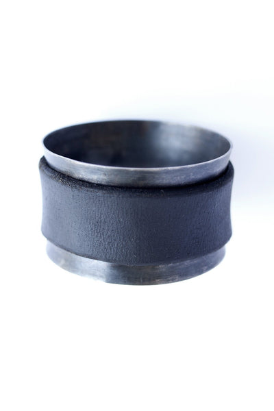Shop emerging slow fashion accessory brand For Those Who Pray Black Leather and Silver Band Bracelet - Erebus