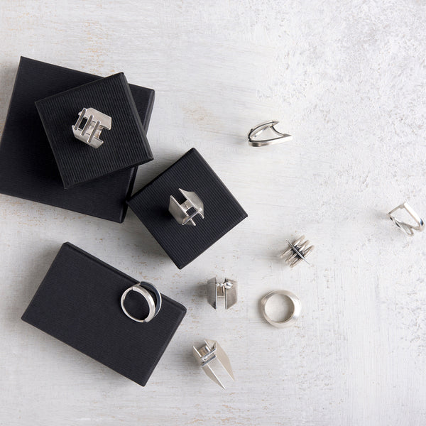 Shop emerging slow fashion jewellery brand Vika Mayzel Jewelry silver Dave Ring - Erebus