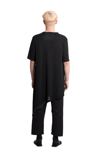 Shop Emerging Slow Fashion Genderless Brand Ludus Agender Brand Black Asymmetric Tunic T-Shirt at Erebus