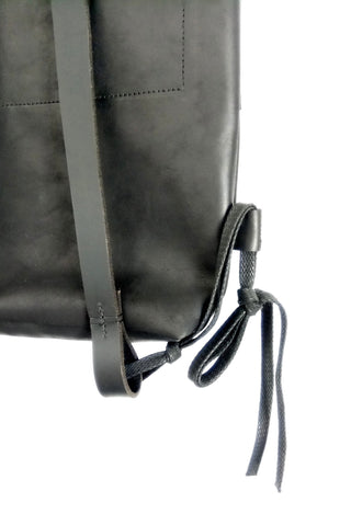 Shop emerging slow fashion accessory brand For Those Who Pray Black Leather Midi Backpack - Erebus