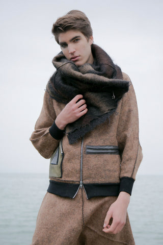 Shop Emerging Conscious Avant-garde Gender-free Brand Supramorphous Natural Mohair Scarf at Erebus