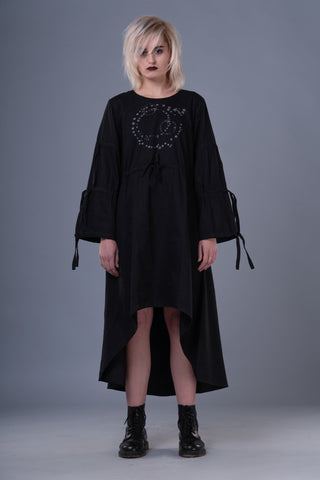 Shop Emerging Dark Conceptual Brand Anagenesis Black Braille Transformable Strand Dress at Erebus