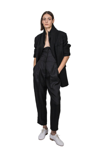 Shop Emerging Slow Fashion Genderless Brand Ludus Agender Brand Black Double Collar Wool Jacket at Erebus