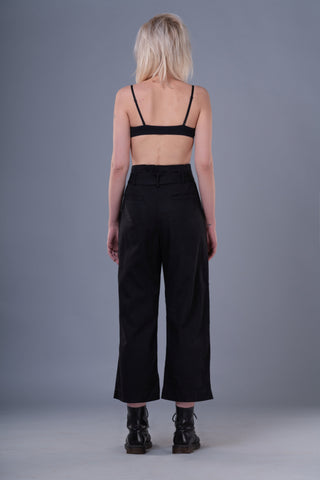 Shop Emerging Dark Conceptual Brand Anagenesis Braille Black Cotton Sash Trousers at Erebus