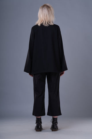 Shop Emerging Dark Conceptual Brand Anagenesis Braille Black Ellipsoidal Top at Erebus