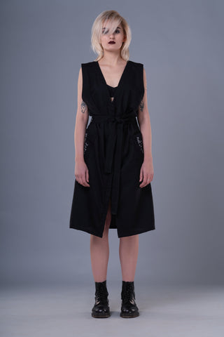 Shop Emerging Dark Conceptual Brand Anagenesis Braille Black Sleeveless Sash Jacket at Erebus