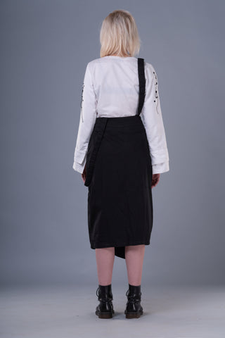 Shop Emerging Dark Conceptual Brand Anagenesis Braille Black Cotton Veneer Skirt at Erebus