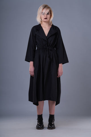 Shop Emerging Dark Conceptual Brand Anagenesis Black Long Strand Wrap Jacket at Erebus