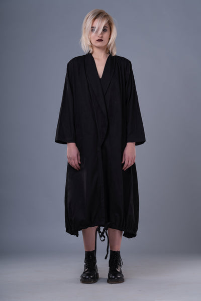 Shop Emerging Dark Conceptual Brand Anagenesis Long Black Ellipsoidal Jacket at Erebus