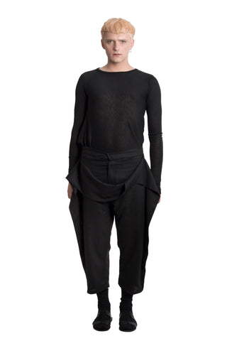 Shop Emerging Slow Fashion Genderless Brand Ludus Agender Brand Black Cropped Flax Twist Trousers at Erebus
