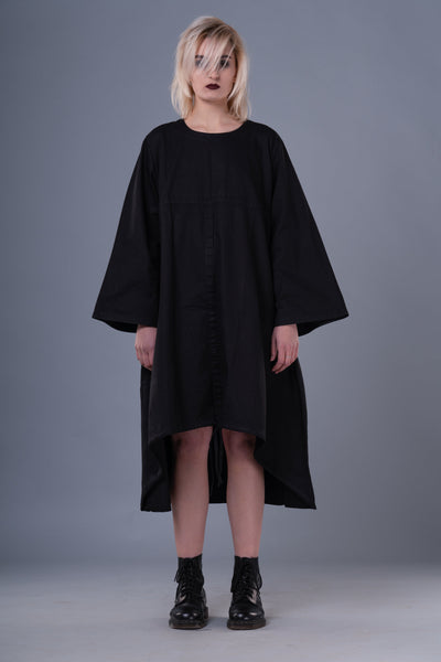 Shop Emerging Dark Conceptual Brand Anagenesis Braille Black Long Asymmetric Strand Dress at Erebus