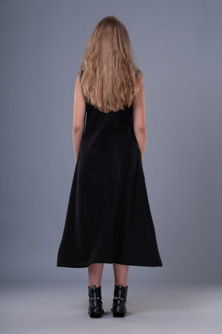 Shop Emerging Dark Conceptual Brand Anagenesis Black Sleeveless Braille Dress at Erebus
