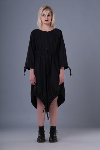 Shop Emerging Dark Conceptual Brand Anagenesis Black Braille Ellipsoidal Jacket Dress at Erebus