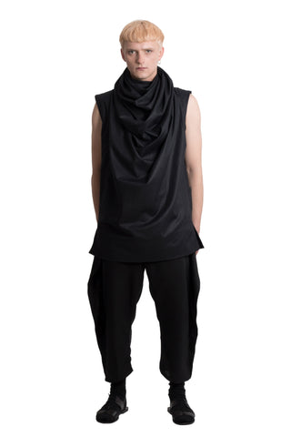 Shop Emerging Slow Fashion Genderless Brand Ludus Agender Brand Black Sleeveless Draped High Neck Top at Erebus