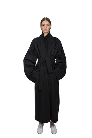 Shop Emerging Slow Fashion Genderless Brand Ludus Agender Brand Black Wool Overcoat at Erebus