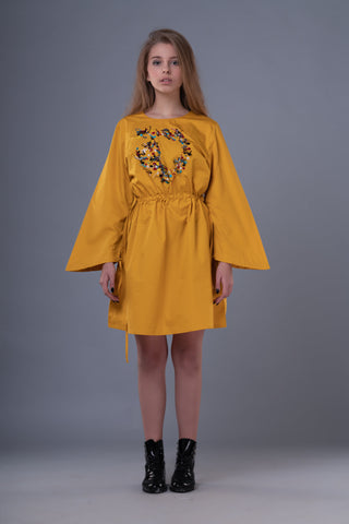 Shop Emerging Dark Conceptual Brand Anagenesis Mustard Braille Strand Dress at Erebus