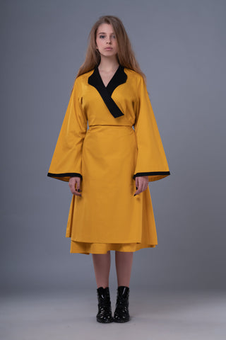 Shop Emerging Dark Conceptual Brand Anagenesis Mustard Braille Wrap Dress Jacket at Erebus