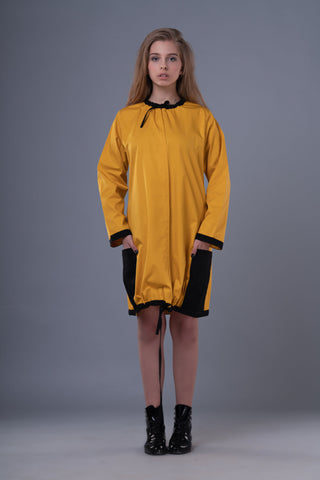 Shop Emerging Dark Conceptual Brand Anagenesis Mustard and Black Braille Dress at Erebus