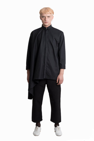 Shop Emerging Slow Fashion Genderless Brand Ludus Agender Brand Black Asymmetric Circle Shirt at Erebus