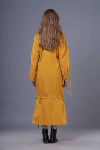 Shop Emerging Dark Conceptual Brand Anagenesis Mustard Braille Long Strand Dress at Erebus
