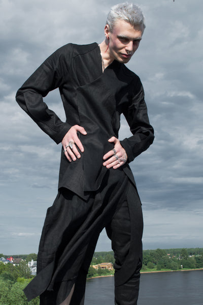 Shop Emerging Conscious Agender Avant-garde Brand Nomad Goba Black Linen Slim Fit Wrap Jacket at Erebus