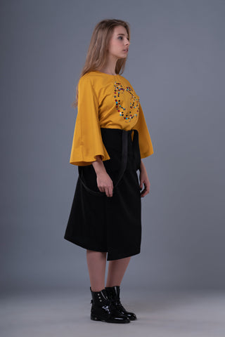 Shop Emerging Dark Conceptual Brand Anagenesis Braille Black Wool and Leather Veneer Skirt at Erebus