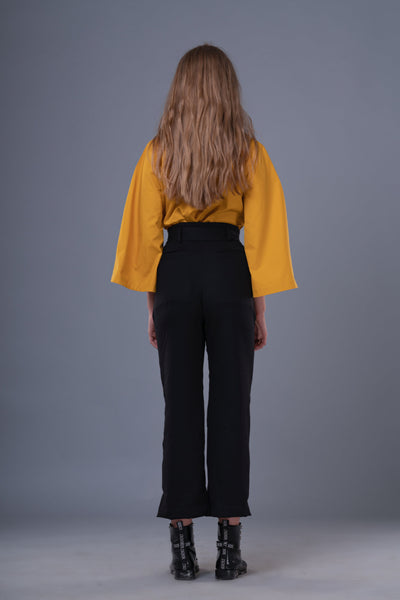 Shop Emerging Dark Conceptual Brand Anagenesis Braille Black Wool Sash Trousers at Erebus