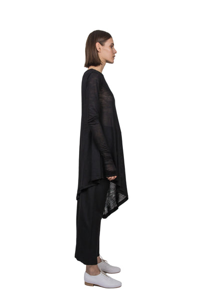 Shop Emerging Slow Fashion Genderless Brand Ludus Agender Brand Black Asymmetric Long Sleeve Tunic Top at Erebus