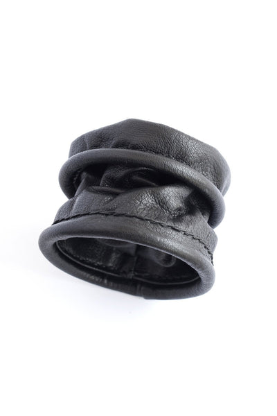 Shop emerging slow fashion accessory brand For Those Who Pray Black Leather Soft Sleeve Bracelet - Erebus