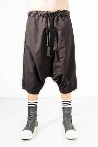 Shop Emerging Avant-garde Genderless Brand Incontaminato Black Low Crotch Linen Cotton Shorts at Erebus