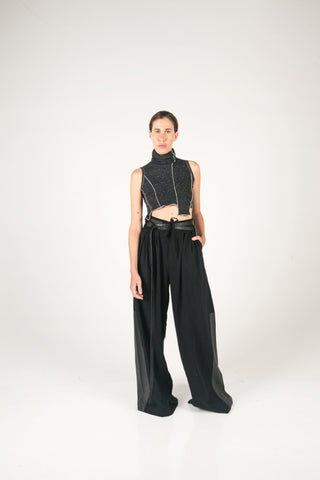 Shop Fair Fashion Genderless Avant-garde Basics Brand PULSE by Mark Baigent Collection Cephalic Crop Top at Erebus