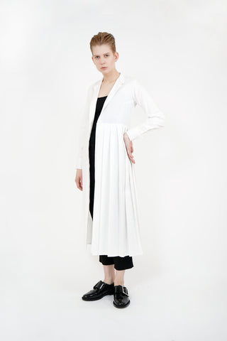 Shop Emerging Contemporary Womenswear Brand Studio Karro White Asymmetric Pleated Shirt Dress at Erebus