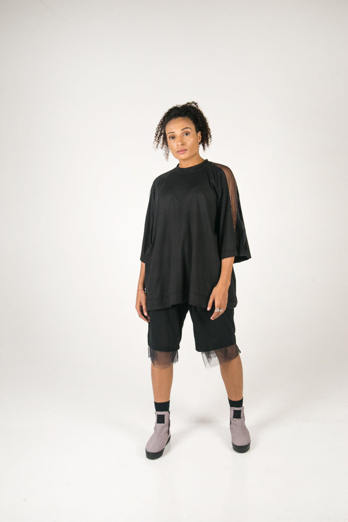 Shop Fair Fashion Genderless Avant-garde Basics Brand PULSE by Mark Baigent Collection Black Biodegradable Tencel Oversized Trapezius T-Shirt at Erebus