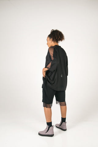 Shop Fair Fashion Genderless Avant-garde Basics Brand PULSE by Mark Baigent Collection Black Layered Femoral Shorts at Erebus