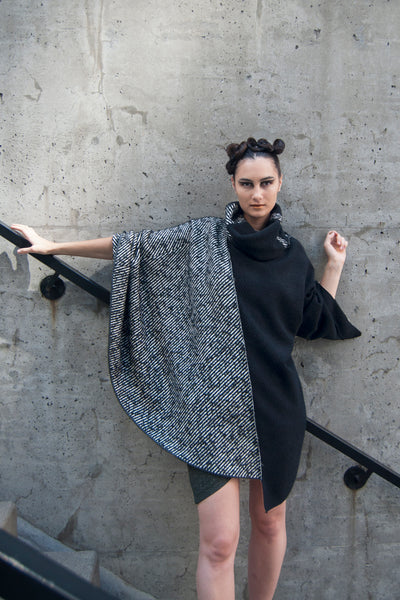 Shop Emerging Conscious Avant-garde Gender-free Brand Supramorphous Black and White Wool Cortada Poncho at Erebus