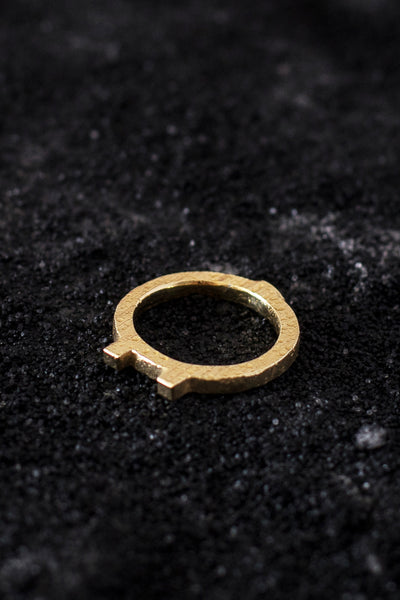 Shop Emerging Minimalist Avant-garde Jewellery Brand B KREB Gold El E Ring at Erebus