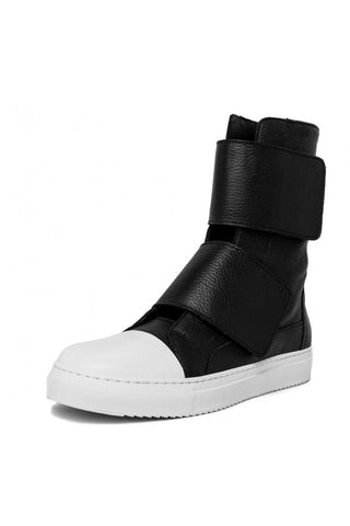 Shop emerging slow fashion unisex shoe brand EZ Lab Sneakers black on white Double Strap Leather High-Top Sneakers - Erebus