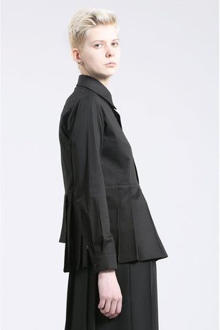 Shop Emerging Contemporary Womenswear Brand Studio Karro Black Asymmetric Pleated Shirt at Erebus