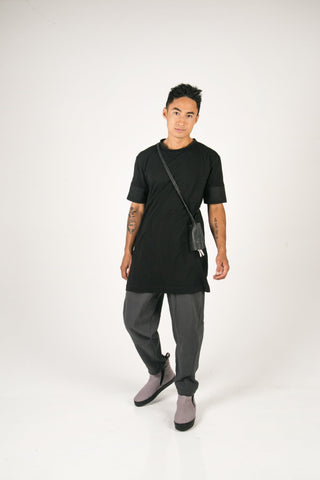 Shop Fair Fashion Genderless Avant-garde Basics Brand PULSE by Mark Baigent Collection Charcoal Gracilis Pants at Erebus