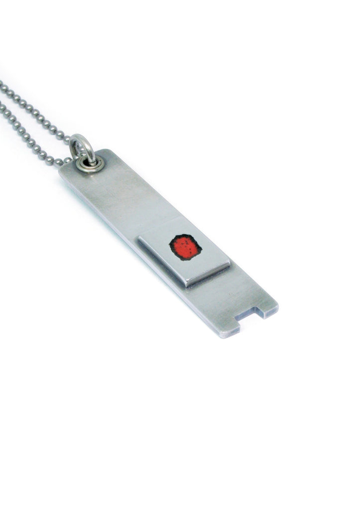 Shop Emerging Slow Fashion Avant-garde Jewellery Brand Gothmos Sterling Silver and Red Enamel Curved Key Chilbo Necklace at Erebus