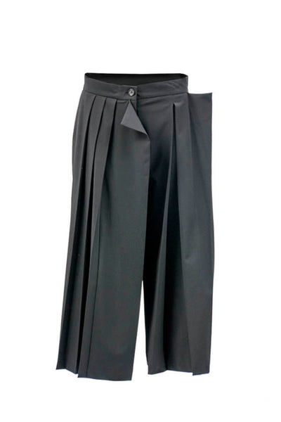 Shop Emerging Contemporary Womenswear Brand Studio Karro Black Pleated Asymmetric Trousers at Erebus