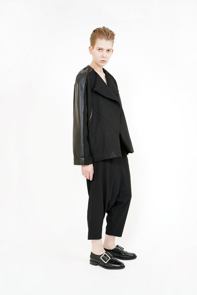 Shop Emerging Contemporary Womenswear Brand Studio Karro Black Wool and Up-cycled Leather Raglan Sleeve Jacket at Erebus