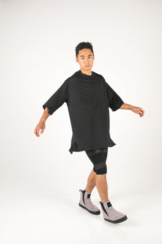 Shop Fair Fashion Genderless Avant-garde Basics Brand PULSE by Mark Baigent Collection Black Biodegradable Tencel Plastima Oversized T-Shirt at Erebus